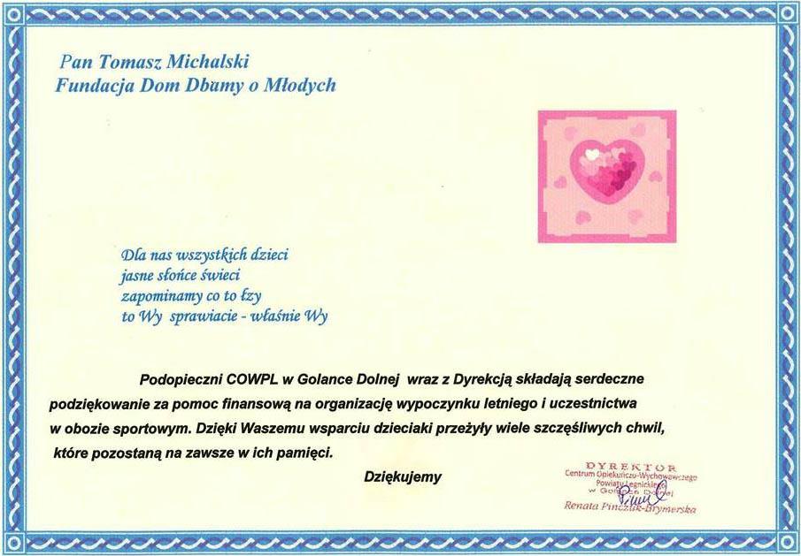 Dyplom od podopiecznych i dyrekcji Domu Dziecka w Golance Dolnej